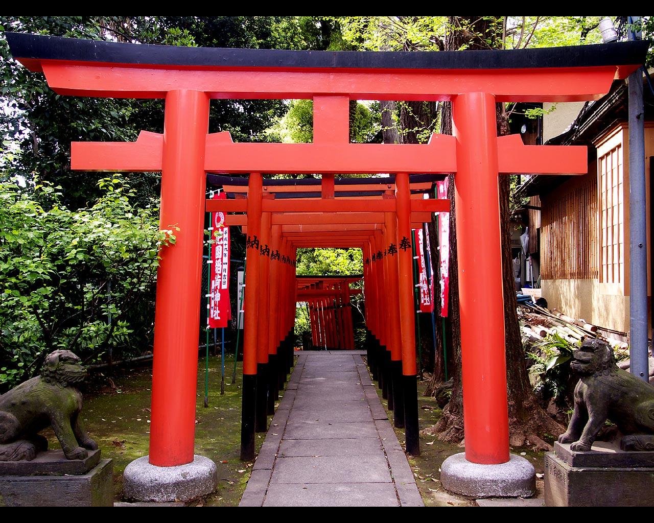 上野の風景壁紙写真10 花園稲荷神社の鳥居 1280 1024